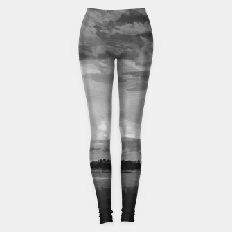 hurricane storm landscape digital oil painting akvop bw Leggings thumbnail image