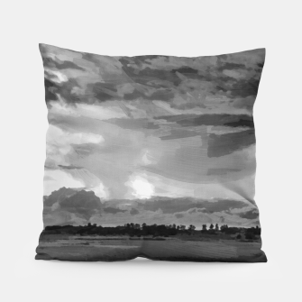 hurricane storm landscape digital oil painting akvop bw Pillow thumbnail image