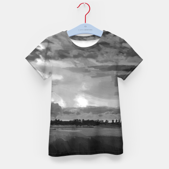hurricane storm landscape digital oil painting akvop bw Kid's t-shirt thumbnail image