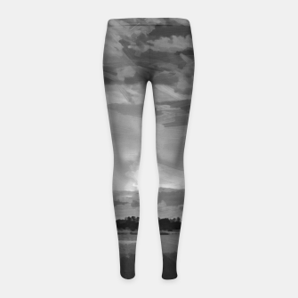 hurricane storm landscape digital oil painting akvop bw Girl's leggings thumbnail image