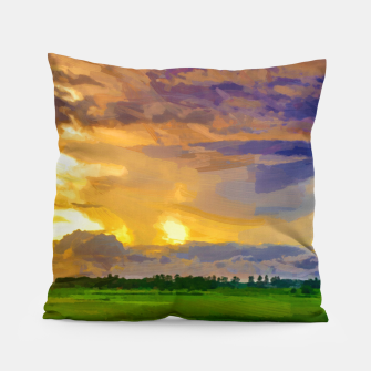 hurricane storm landscape digital oil painting akvop std Pillow thumbnail image