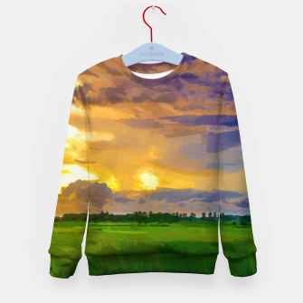 hurricane storm landscape digital oil painting akvop std Kid's sweater thumbnail image