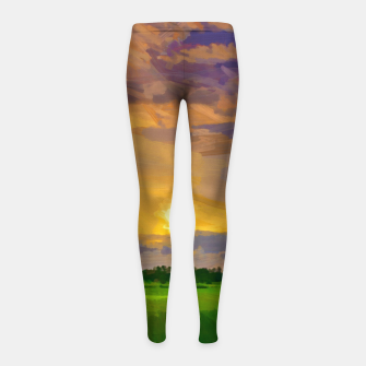 hurricane storm landscape digital oil painting akvop std Girl's leggings thumbnail image