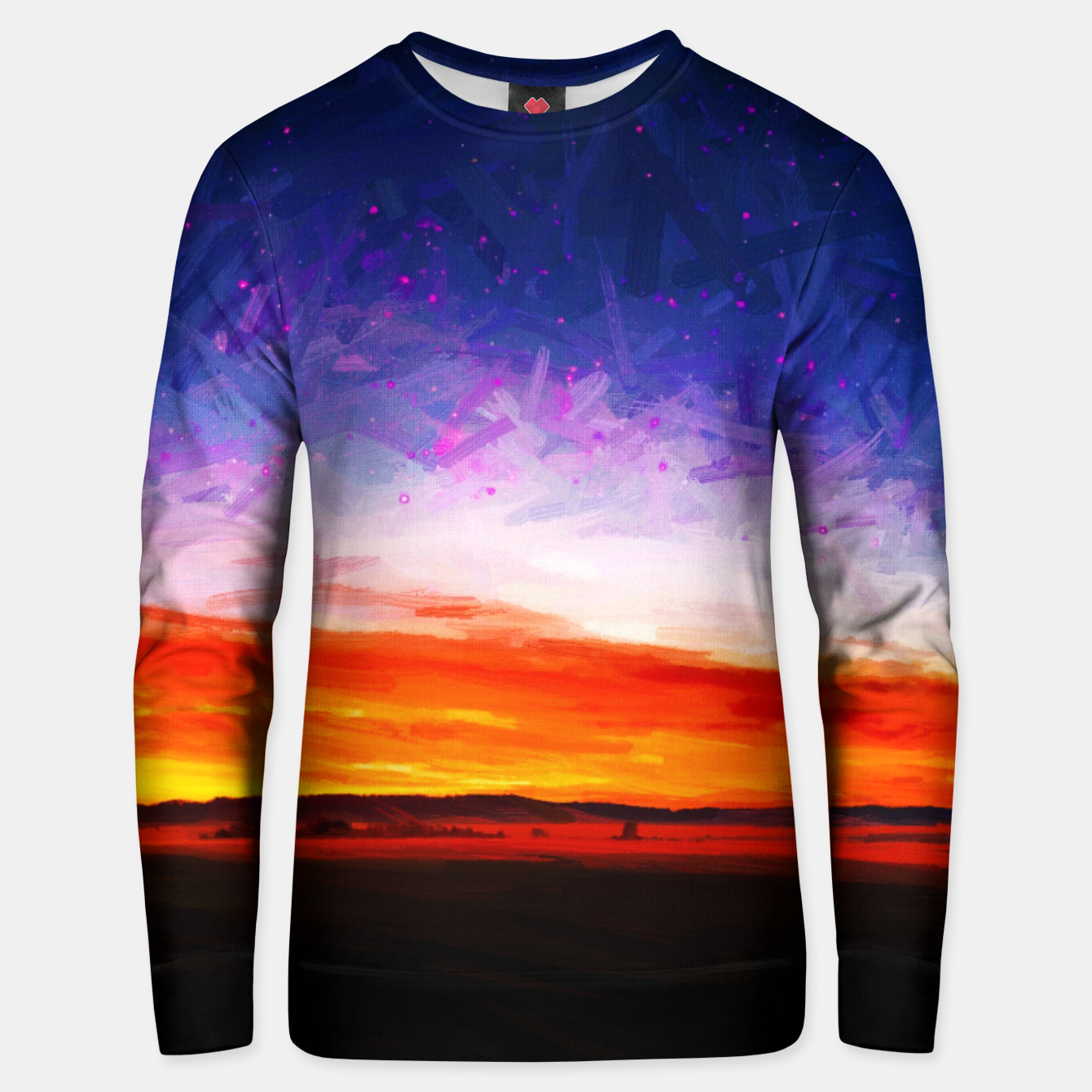 Image of idyllic sunset starry sky digital oil painting akvop std Unisex sweater - Live Heroes