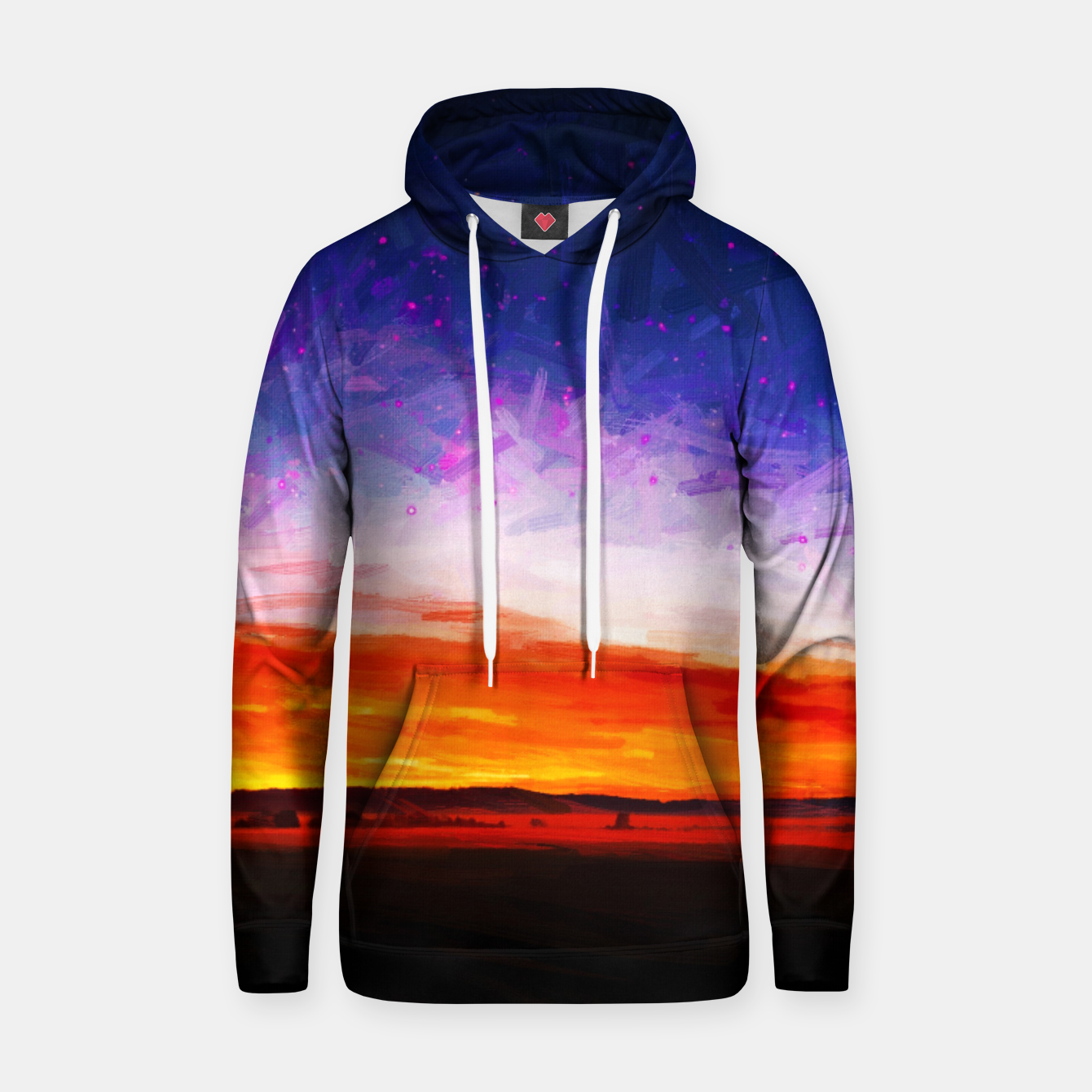 Image of idyllic sunset starry sky digital oil painting akvop std Hoodie - Live Heroes