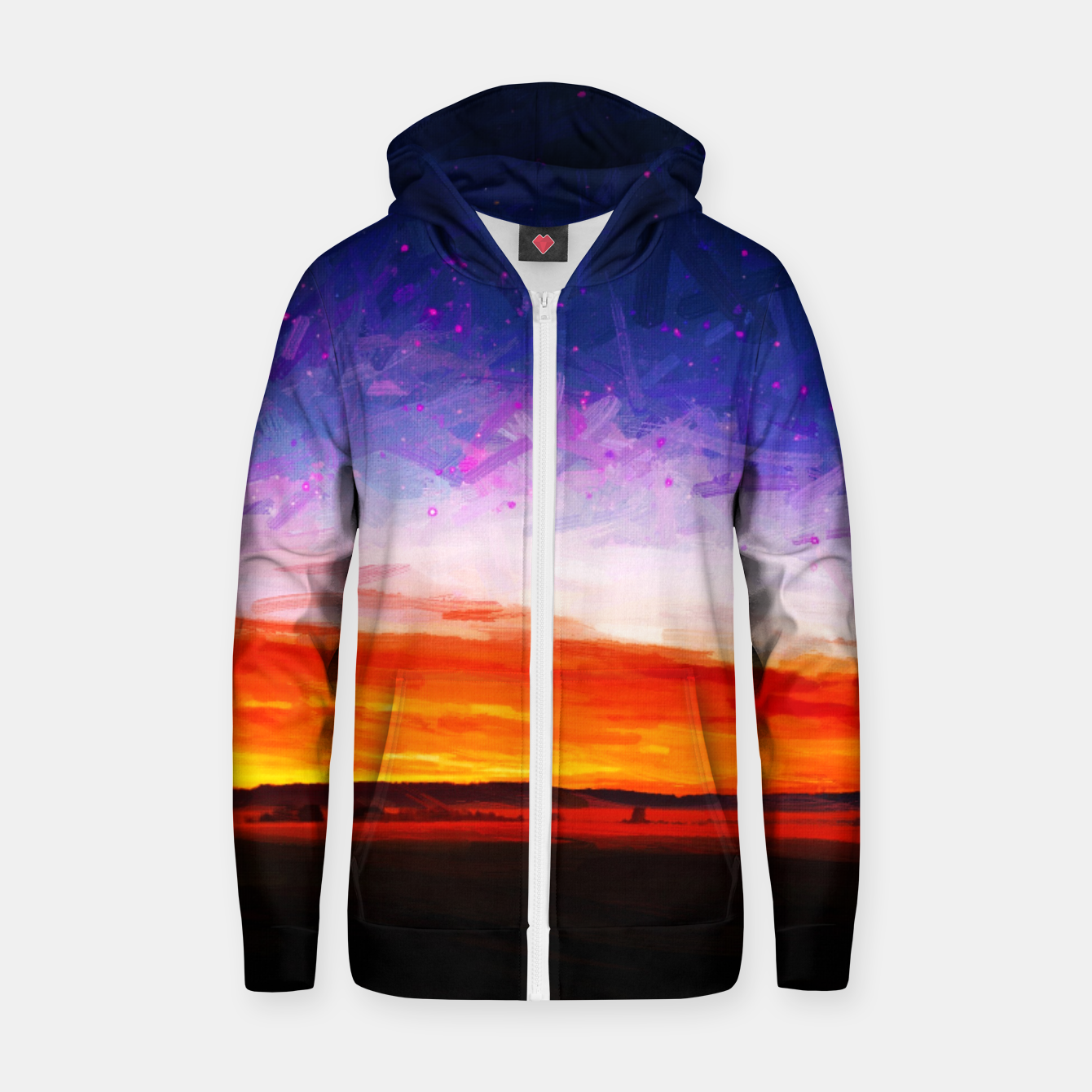 Image of idyllic sunset starry sky digital oil painting akvop std Zip up hoodie - Live Heroes