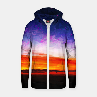 idyllic sunset starry sky digital oil painting akvop std Zip up hoodie thumbnail image