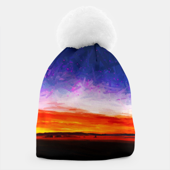 idyllic sunset starry sky digital oil painting akvop std Beanie thumbnail image