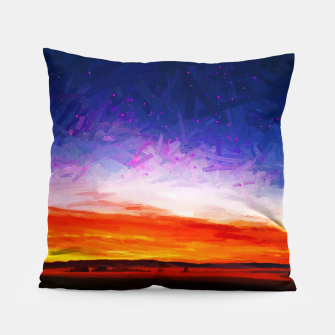 idyllic sunset starry sky digital oil painting akvop std Pillow thumbnail image