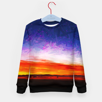 idyllic sunset starry sky digital oil painting akvop std Kid's sweater thumbnail image