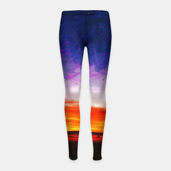 idyllic sunset starry sky digital oil painting akvop std Girl's leggings thumbnail image