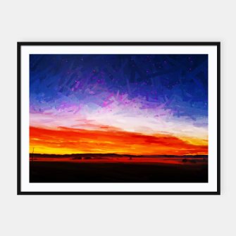 idyllic sunset starry sky digital oil painting akvop std Framed poster thumbnail image