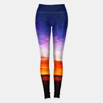 idyllic sunset starry sky digital oil painting akvop std Leggings thumbnail image