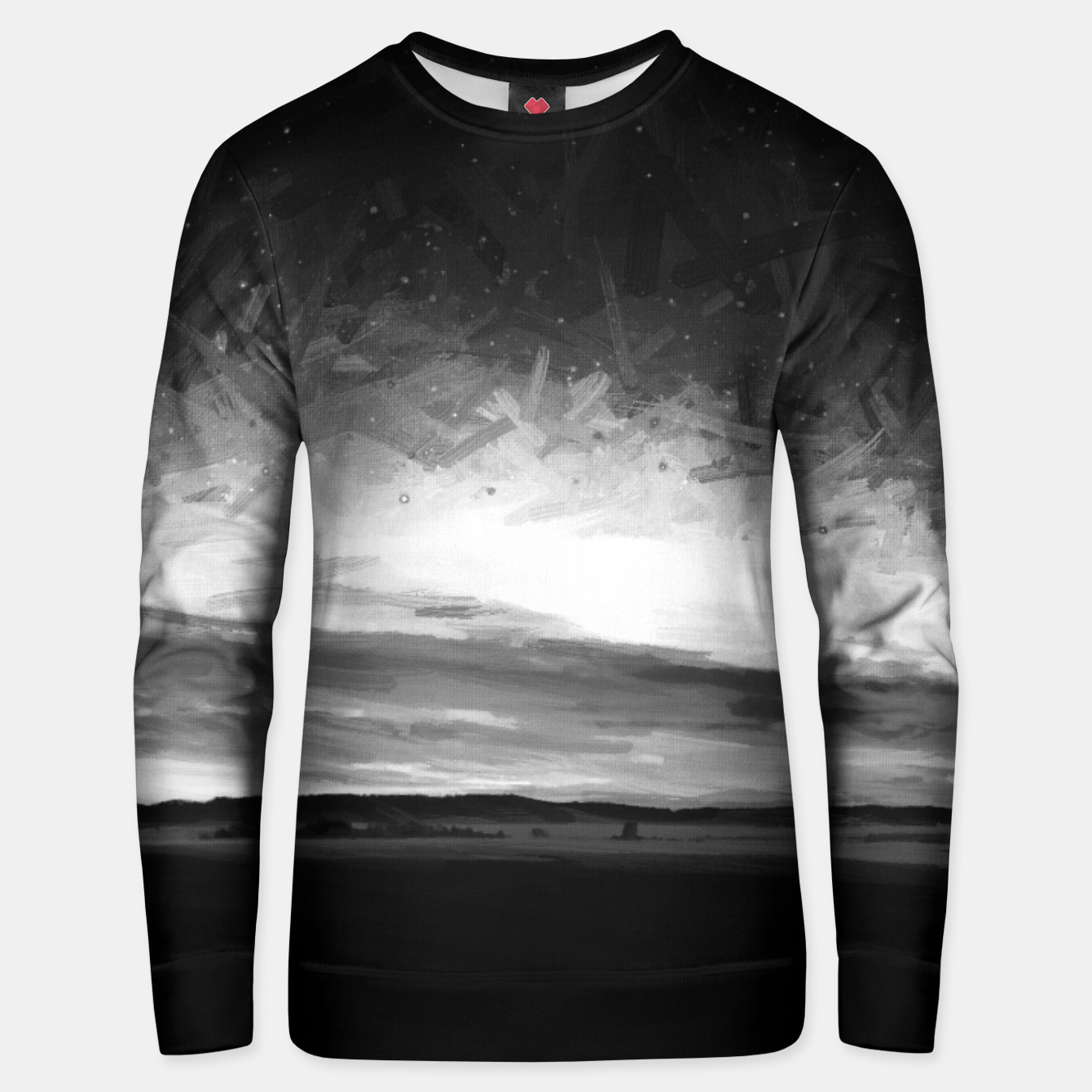 Image of idyllic sunset starry sky digital oil painting akvop bw Unisex sweater - Live Heroes
