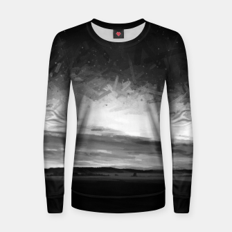 idyllic sunset starry sky digital oil painting akvop bw Women sweater thumbnail image