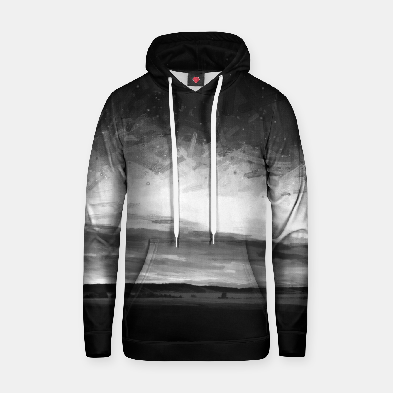 Image of idyllic sunset starry sky digital oil painting akvop bw Hoodie - Live Heroes