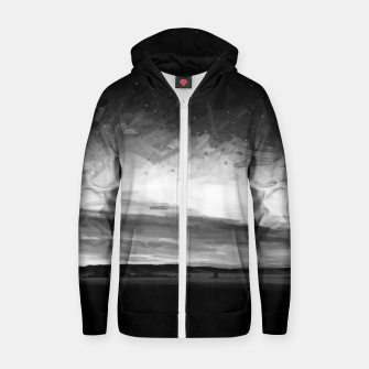 idyllic sunset starry sky digital oil painting akvop bw Zip up hoodie thumbnail image