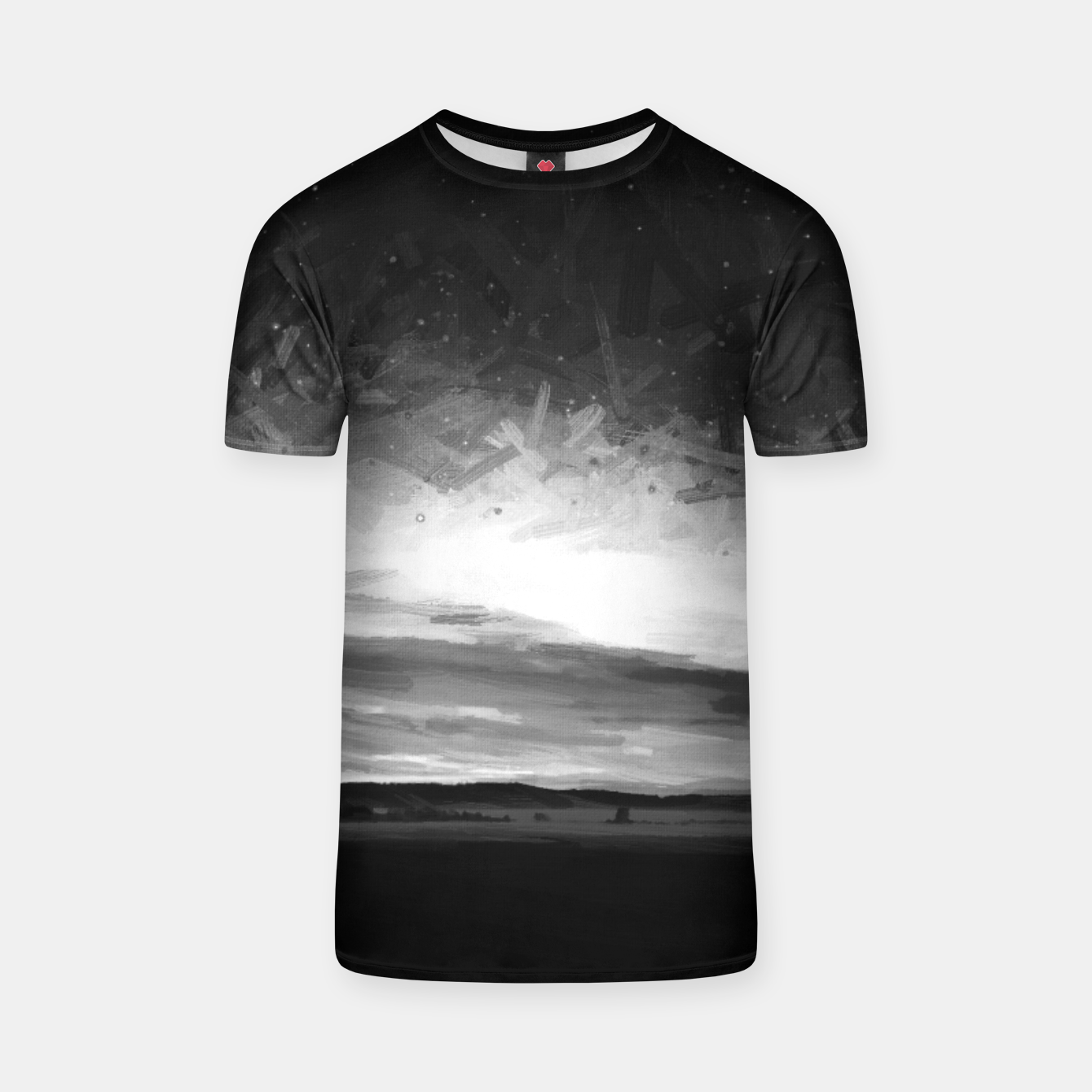 Image of idyllic sunset starry sky digital oil painting akvop bw T-shirt - Live Heroes