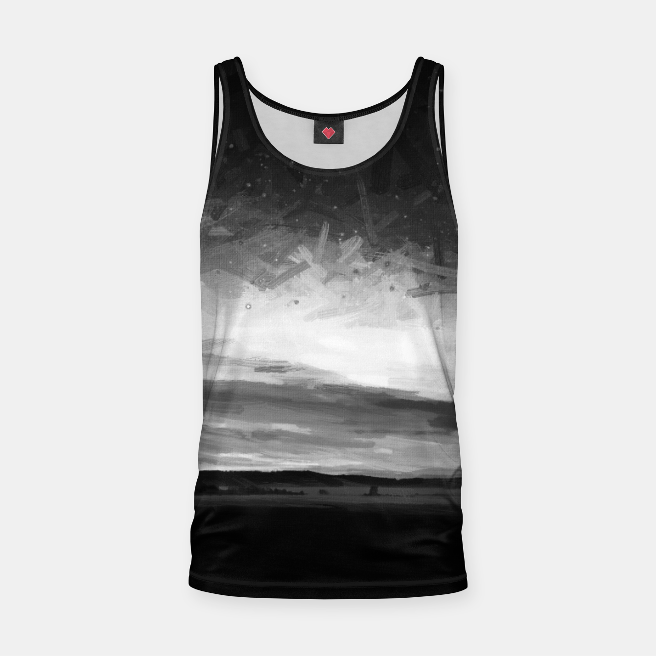 Image of idyllic sunset starry sky digital oil painting akvop bw Tank Top - Live Heroes