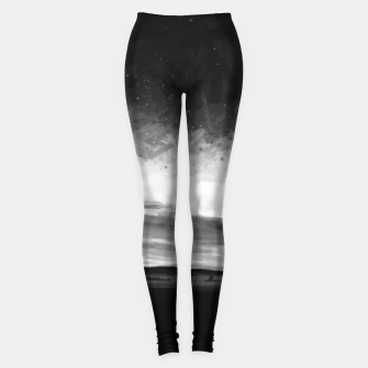 idyllic sunset starry sky digital oil painting akvop bw Leggings thumbnail image