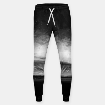 Thumbnail image of idyllic sunset starry sky digital oil painting akvop bw Sweatpants, Live Heroes