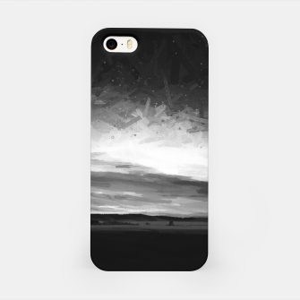 Thumbnail image of idyllic sunset starry sky digital oil painting akvop bw iPhone Case, Live Heroes