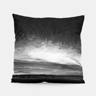 idyllic sunset starry sky digital oil painting akvop bw Pillow thumbnail image