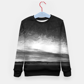 idyllic sunset starry sky digital oil painting akvop bw Kid's sweater thumbnail image