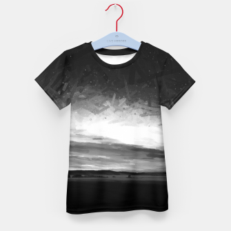 Thumbnail image of idyllic sunset starry sky digital oil painting akvop bw Kid's t-shirt, Live Heroes