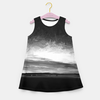 Thumbnail image of idyllic sunset starry sky digital oil painting akvop bw Girl's summer dress, Live Heroes