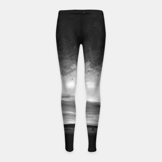 Thumbnail image of idyllic sunset starry sky digital oil painting akvop bw Girl's leggings, Live Heroes