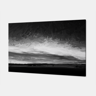 Thumbnail image of idyllic sunset starry sky digital oil painting akvop bw Canvas, Live Heroes