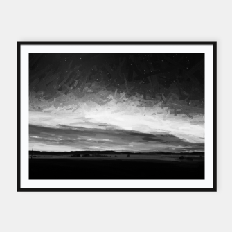 Thumbnail image of idyllic sunset starry sky digital oil painting akvop bw Framed poster, Live Heroes