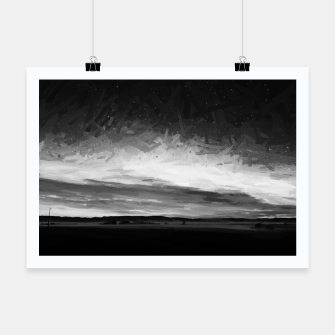 Thumbnail image of idyllic sunset starry sky digital oil painting akvop bw Poster, Live Heroes