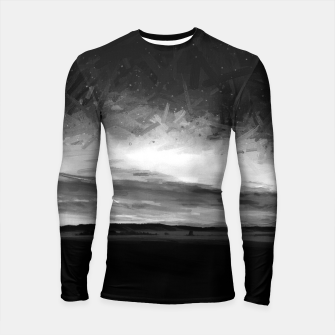 Thumbnail image of idyllic sunset starry sky digital oil painting akvop bw Longsleeve rashguard , Live Heroes
