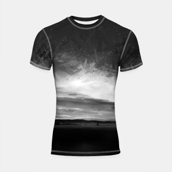 Thumbnail image of idyllic sunset starry sky digital oil painting akvop bw Shortsleeve rashguard, Live Heroes