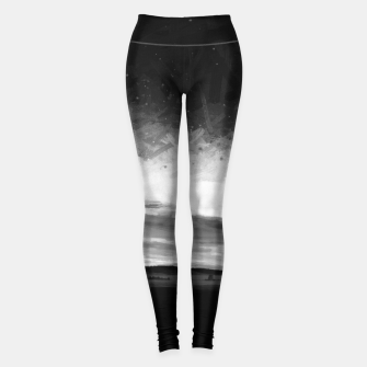 Thumbnail image of idyllic sunset starry sky digital oil painting akvop bw Leggings, Live Heroes