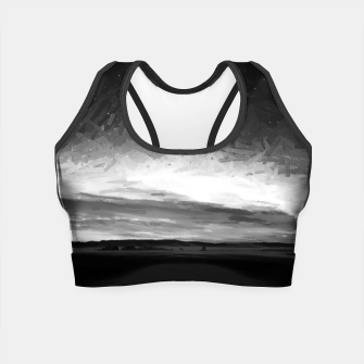 idyllic sunset starry sky digital oil painting akvop bw Crop Top thumbnail image