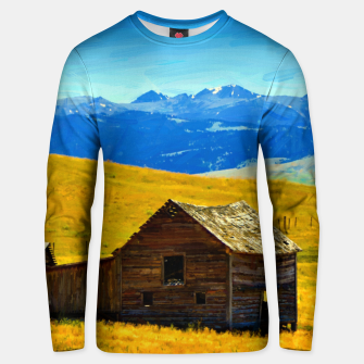 old wooden barn landscape digital oil painting akvop std Unisex sweater thumbnail image