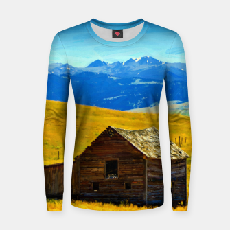 old wooden barn landscape digital oil painting akvop std Women sweater thumbnail image