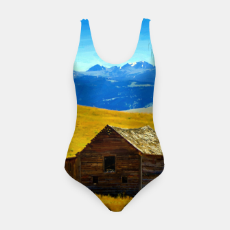 old wooden barn landscape digital oil painting akvop std Swimsuit thumbnail image