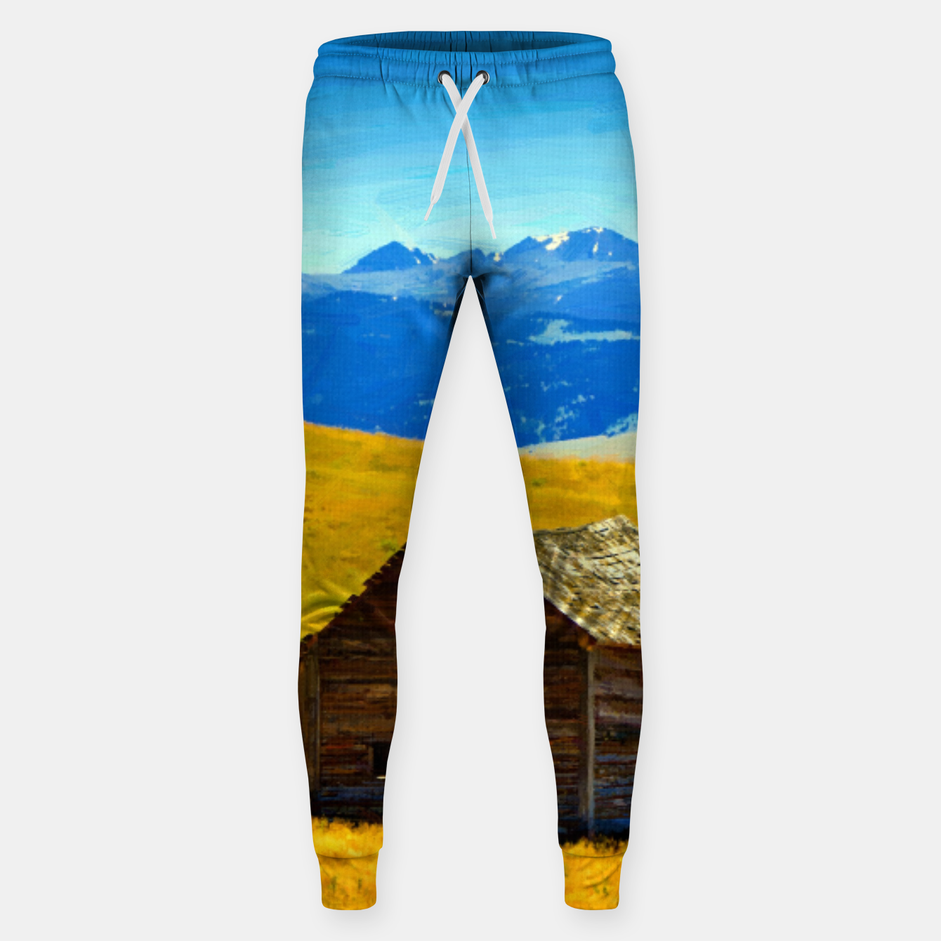 Image of old wooden barn landscape digital oil painting akvop std Sweatpants - Live Heroes