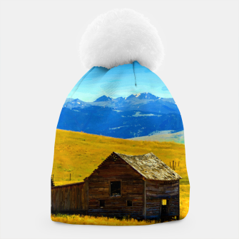 old wooden barn landscape digital oil painting akvop std Beanie thumbnail image