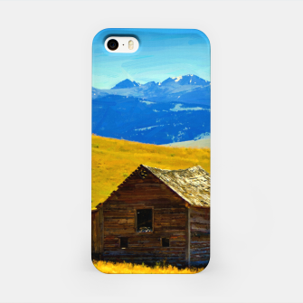 old wooden barn landscape digital oil painting akvop std iPhone Case thumbnail image