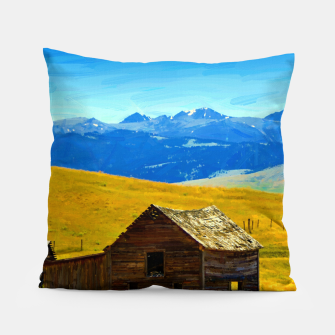 old wooden barn landscape digital oil painting akvop std Pillow thumbnail image
