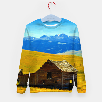 old wooden barn landscape digital oil painting akvop std Kid's sweater thumbnail image