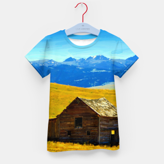 old wooden barn landscape digital oil painting akvop std Kid's t-shirt thumbnail image