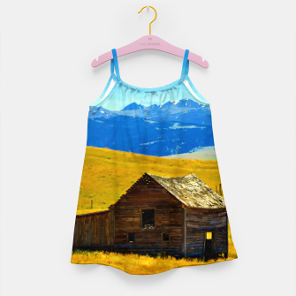 old wooden barn landscape digital oil painting akvop std Girl's dress thumbnail image