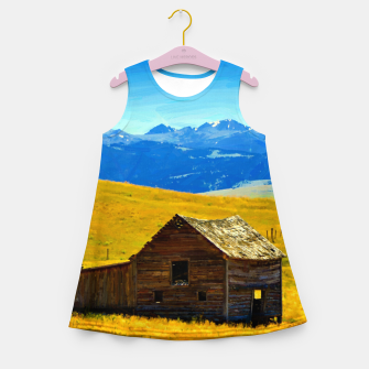 old wooden barn landscape digital oil painting akvop std Girl's summer dress thumbnail image