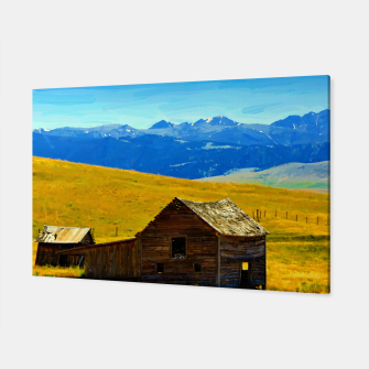 old wooden barn landscape digital oil painting akvop std Canvas thumbnail image